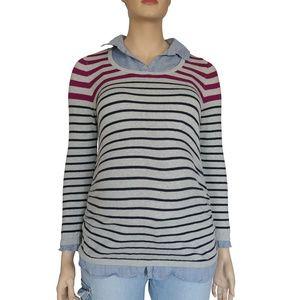 X-Large Gray, Magenta, Blue & Denim Striped Collar